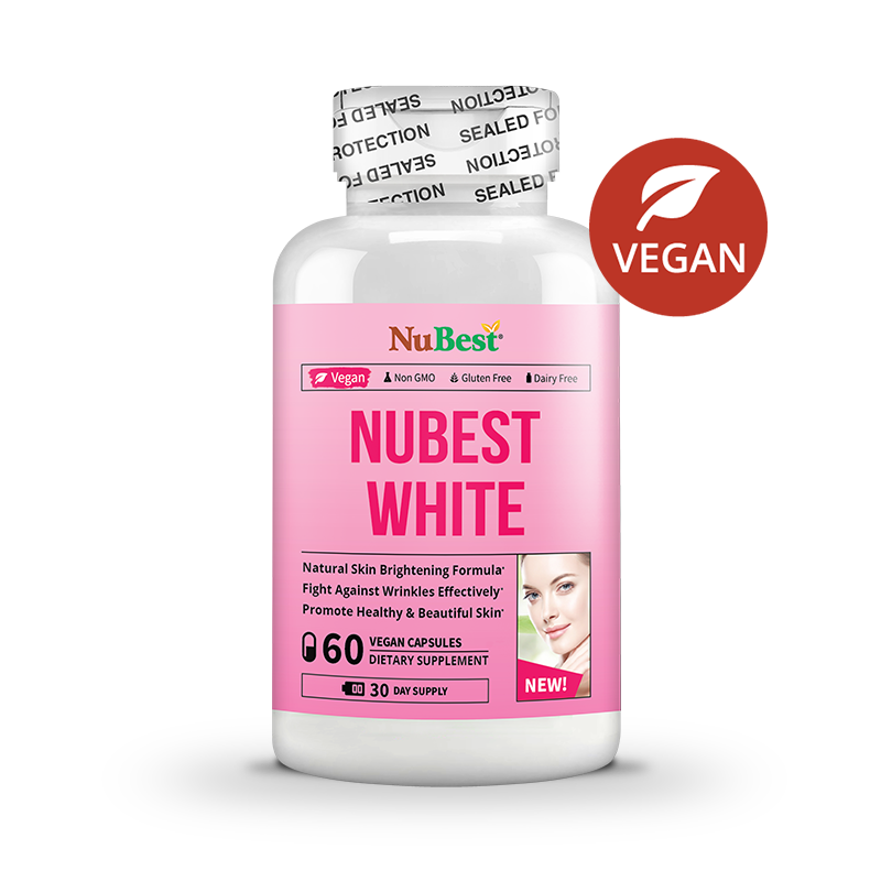NuBest White - Natural Skin Brightening and Anti-Aging Formula with Glutathione, Milk Thistle Extract, L-Cysteine, Precious Herbs and Vitamins | Liver Health GSH Detox | All Natural Formula, 60 Vegan  Capsules